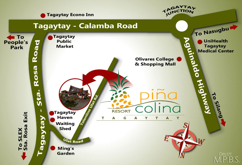 Maps Direction Pina Colina Resort Your Affordable Tagaytay Hideaway
